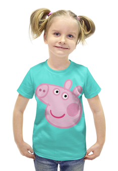 """Футболка с полной запечаткой для девочек """"Свинка Пеппа"""" - мультфильм, семья, свинка, пеппа, peppa pig"""