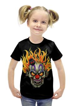 """Футболка с полной запечаткой для девочек """"Evil Clown"""" - skull, череп, клоун, evil, clowm"""