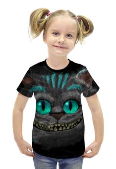 """Футболка с полной запечаткой для девочек """"Чеширский Кот"""" - алиса в стране чудес, чеширский кот, cheshire cat"""