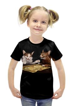 """Футболка с полной запечаткой для девочек """"Коты стратеги"""" - коты с картой"""