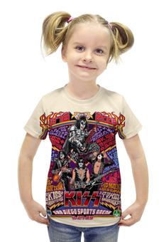 "Футболка с полной запечаткой для девочек ""Kiss Band"" - kiss, heavy metal, hard rock, рок музыка, кисс"