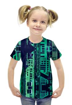 """Футболка с полной запечаткой для девочек """"""""Город будущего"""" """" - зеленый, синий, киберпанк, небоскребы, мегаполис"""