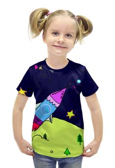 """Футболка с полной запечаткой для девочек """"ракета в космосе"""" - звезды, космос, дети, ракта"""