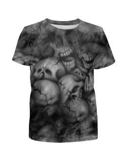 """Футболка с полной запечаткой для девочек """"Черепа"""" - череп, кости, смерть, ужасы, мистика"""