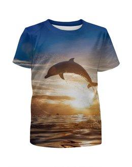 """Футболка с полной запечаткой для девочек """"Дельфин"""" - природа, фотография, дельфин"""