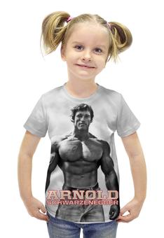 """Футболка с полной запечаткой для девочек """"Arnold Schwarzenegger"""" - кино, arnold schwarzenegger, терминатор, terminator, арнольд шварценеггер"""
