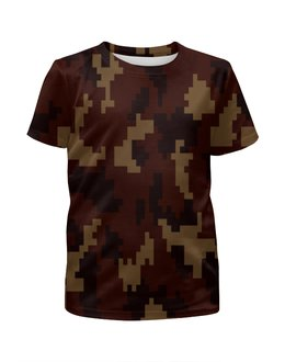 """Футболка с полной запечаткой для девочек """"camouflage brown"""" - 23 февраля, армия, камуфляж, пиксели, силовые структуры"""