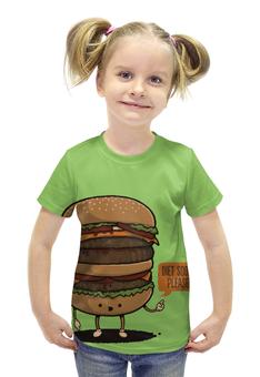 """Футболка с полной запечаткой для девочек """"Diet Burger / Бургер"""" - еда, диета, мясо, бургер"""