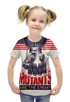 """Футболка с полной запечаткой для девочек """"Мутанты"""" - надпись, рука, робот, флаг, железо"""