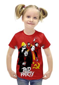 """Футболка с полной запечаткой для девочек """"Red Party"""" - юмор, ленин, маркс, коммунист, сталин"""
