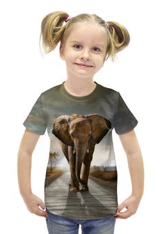 """Футболка с полной запечаткой для девочек """"Слон 3D"""" - слон, 3d, elephant"""