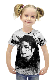 """Футболка с полной запечаткой для девочек """"Майкл Джексон / Michael Jackson"""" - музыка, рисунок, король, майкл джексон"""