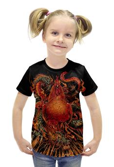 """Футболка с полной запечаткой для девочек """"Петух и Дракон"""" - дракон, мифы, петух, красный петух"""