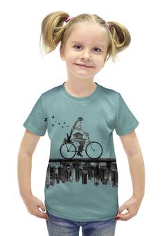 """Футболка с полной запечаткой для девочек """"Город внизу"""" - город, велосипед"""
