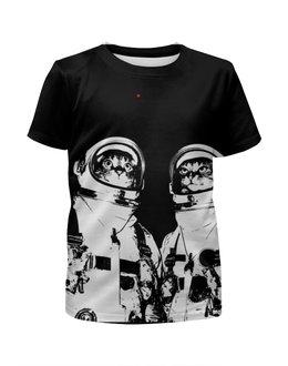 """Футболка с полной запечаткой для девочек """"Коты космонавты"""" - космос, коты, космонавты"""