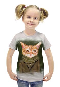 """Футболка с полной запечаткой для девочек """"Кот в пальто"""" - кот, прикол, юмор, cat, одежда"""