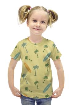 """Футболка с полной запечаткой для девочек """"Гавайка"""" - пальма, море, отдых, пляж, серфинг"""