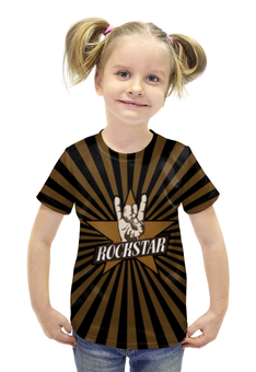 """Футболка с полной запечаткой для девочек """"Rockstar"""" - музыка, cool, rock, лого, рок звезда"""