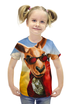 """Футболка с полной запечаткой для девочек """"Кенгуру Джекпот"""" - кенгуру, кенгуру джекпот, kangaroo"""