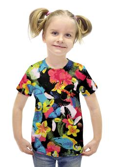 """Футболка с полной запечаткой для девочек """"Пляжная"""" - цветы, птицы, пляж, попугай, beach"""
