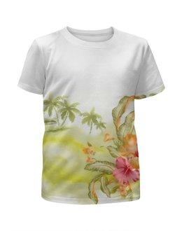"""Футболка с полной запечаткой для девочек """"Тропические цветы, пальмы."""" - цветок, пальма, акварель, тропики, зеленое"""