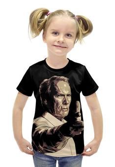 """Футболка с полной запечаткой для девочек """"Клинтон (Клинт) Иствуд / Clinton (Clint) Eastwood"""" - рисунок, кино, режисер, клинт иствуд"""