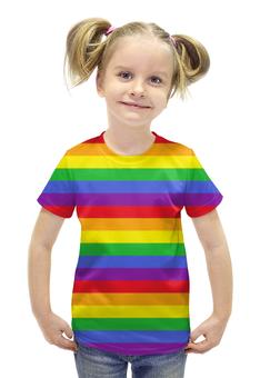 """Футболка с полной запечаткой для девочек """"RAINBOW"""" - арт, радуга, rainbow, линии"""
