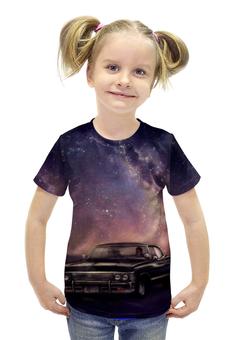 """Футболка с полной запечаткой для девочек """"Машина"""" - арт, космос, ночь, машина"""