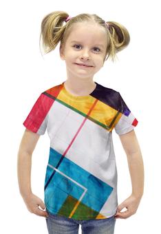 """Футболка с полной запечаткой для девочек """"Геометрия"""" - арт, цвет, геометрия, линии, кубы"""