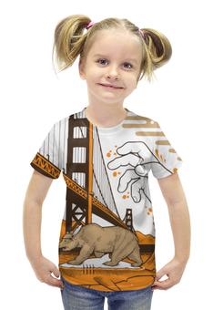 """Футболка с полной запечаткой для девочек """"Bear on Shark / Медведь на Акуле  """" - арт, медведь, город, вода, акула"""