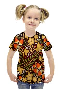 """Футболка с полной запечаткой для девочек """"Ягоды"""" - цветы, узор, лес, ягоды, клубника"""