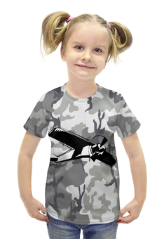 """Футболка с полной запечаткой для девочек """"Самолёт"""" - камуфляж, милитари, самолёт"""