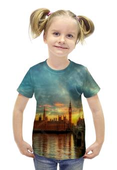 """Футболка с полной запечаткой для девочек """"Лондон"""" - страны, города, лондон, закат, река"""