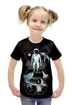 """Футболка с полной запечаткой для девочек """"Космонавт"""" - space, космос"""