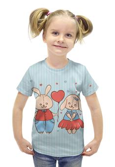 """Футболка с полной запечаткой для девочек """"Влюбленные зайцы. Парные футболки."""" - сердца, 14 февраля, парные, зайцы"""