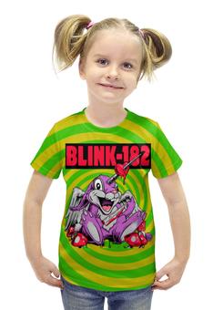 """Футболка с полной запечаткой для девочек """"Blink-182"""" - прикольные, заяц, единорог, грибы, blink-182"""