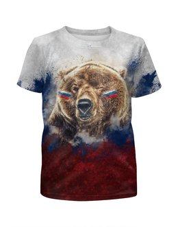 """Футболка с полной запечаткой для девочек """"Русский Медведь"""" - футбол, медведь, россия, флаг, триколор"""