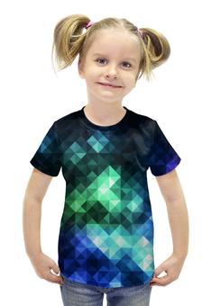 """Футболка с полной запечаткой для девочек """"Треугольники"""" - арт, цвета, треугольники"""