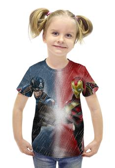 """Футболка с полной запечаткой для девочек """"Битва супергероев"""" - iron man, captain america, битва героев, вселенная марвел"""