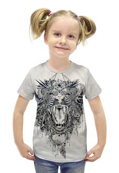 """Футболка с полной запечаткой для девочек """"Лев ловец снов"""" - tattoo, лев, lion, татуировка"""