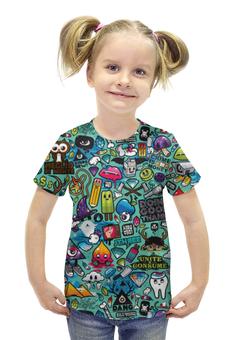 """Футболка с полной запечаткой для девочек """"Stickerbombing"""" - boom, sticker, стикер, стикербомбинг"""