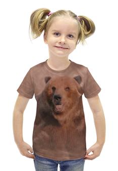 """Футболка с полной запечаткой для девочек """"Медведь"""" - медведь, мазки, животное, коричневый, бурый"""