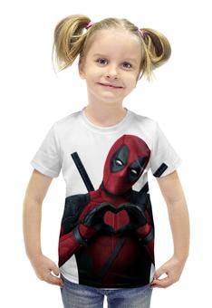 """Футболка с полной запечаткой для девочек """"Love Deadpool"""" - marvel, марвел, дэдпул, wilson"""