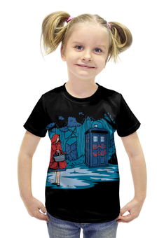 """Футболка с полной запечаткой для девочек """"Красная Шапочка (Доктор Кто)"""" - doctor who, tardis, доктор кто, тардис, bad wolf"""