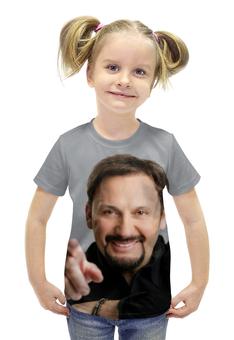 """Футболка с полной запечаткой для девочек """"Стас Михайлов. В черной рубашке. Очень красивый!"""" - любовь, арт, стас михайлов, шансон"""