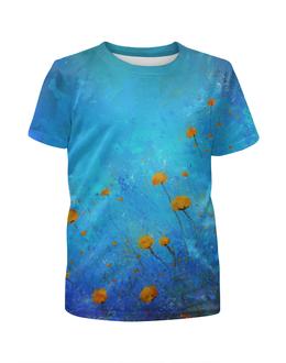 """Футболка с полной запечаткой для девочек """"декоративненько"""" - цветы, природа, синий, поляна, арт"""