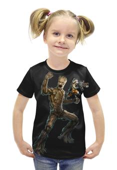 """Футболка с полной запечаткой для девочек """"Rocket Raccoon and Groot/Енот Ракета и Грут"""" - marvel, енот, ракета, rocket, rocket raccoon"""