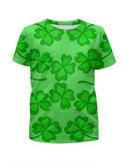 """Футболка с полной запечаткой для девочек """"День святого Патрика - волшебный четырехлистник"""" - зеленый, паттерн, лист клевера, день святого патрика, четырехлистник"""