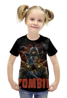 """Футболка с полной запечаткой для девочек """"Zombie Sheriff"""" - skull, череп, zombie, зомби, шериф"""