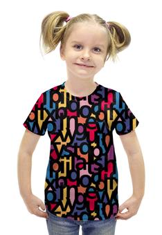 """Футболка с полной запечаткой для девочек """"Алфавит"""" - text, текст, буквы, алфавит"""
